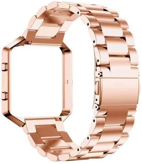 Metalen armband voor Fitbit Blaze met behuizing - Rosé-goud