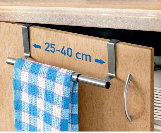 Telescopische Kastdeur Handdoekrek - Keukenkast Deur Handdoek Houder Rek Stang Hanger - Deurhanger Deurhaak Keuken - RVS