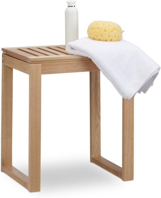 relaxdays Badkamerkruk hout, hocker voor kinderen - walnoot - kruk senioren, badkamer kruk