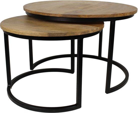 HSM Collection - salontafel Ronin medium - set van 2 - naturel / zwart