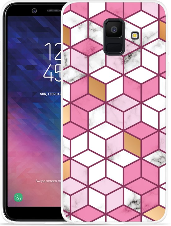 Galaxy A6 2018 hoesje Pink-gold-white Marble