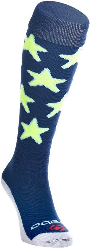 Brabo Stars Hockeysokken Sportsokken - Maat 36-39 - Unisex - blauw/geel Maat 36-40