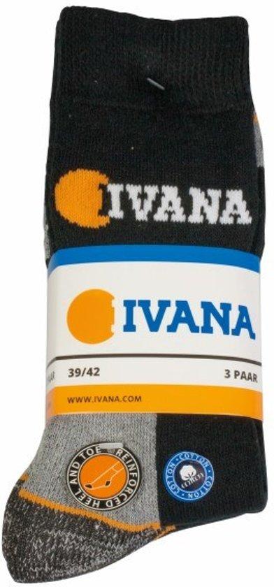 Ivana werksokken zwart/grijs 3-pack mt 47-50