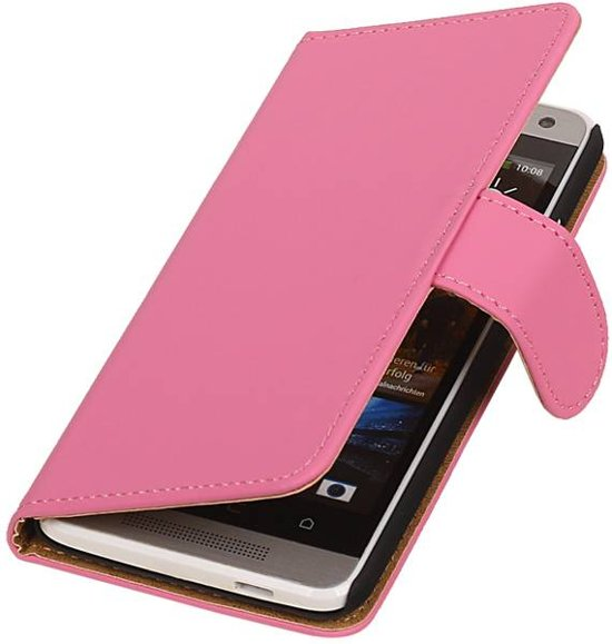 Wicked Narwal   bookstyle / book case/ wallet case Hoes voor HTC One mini M4 Roze