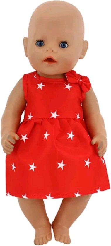 b8b5cba4b8f14e Poppenkleertjes - Geschikt voor Baby Born - Rode jurk met sterren en  strikje - Baby born