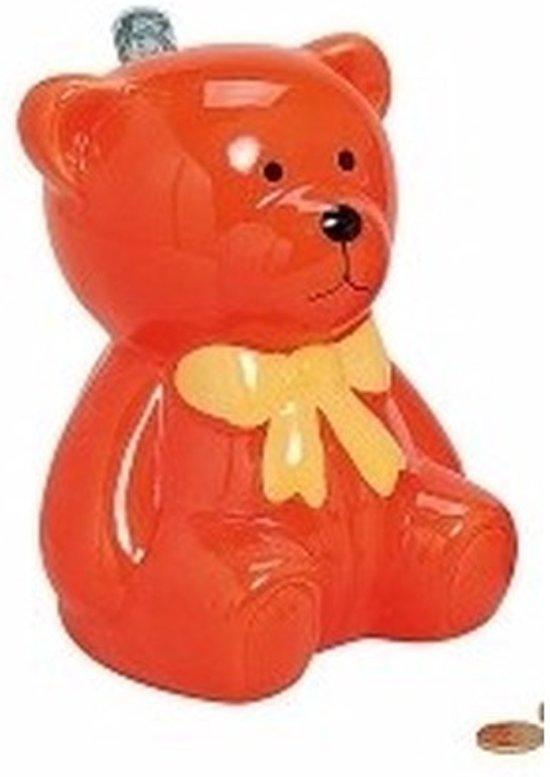 Spaarpot oranje teddybeer 20 cm