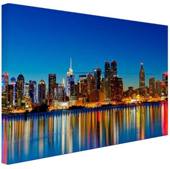 Slaapkamer Thema New York.New York Skyline Nacht Canvas 80x60 Cm Foto Print Op Canvas Schilderij Wanddecoratie Woonkamer Slaapkamer Steden Canvas Schilderijen