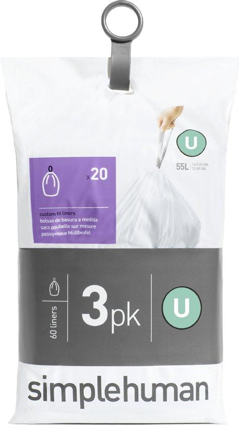 Simplehuman Afvalzak Code U - Voor Pocket Liners - 55 l - Set van 3 x 20 Stuks