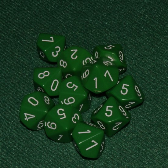Afbeelding van het spel 10 Vlakken Tienzijdige Dobbelstenen Groen met Wit 16mm Set van 6 Stuks