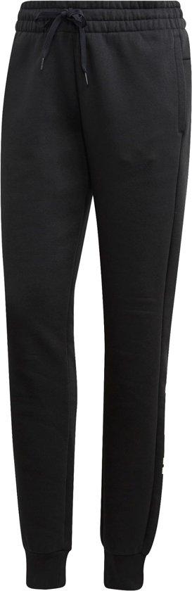 adidas W Essentials Linear Pant Fl Dames Broek - Black/White - Maat M