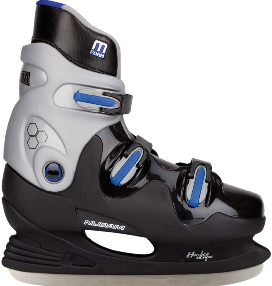 Nijdam 0089 IJshockeyschaats - Hardboot - Zwart/Blauw - Maat 39