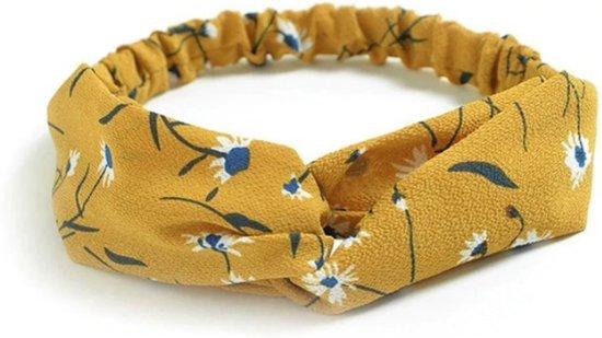 Haarband Print | Bloem Okergeel | Elastische Bandana | Fashion Favorite