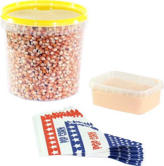 Popcornmais zout startpakket 1,5 KG mais, popcorn zout en puntzakjes