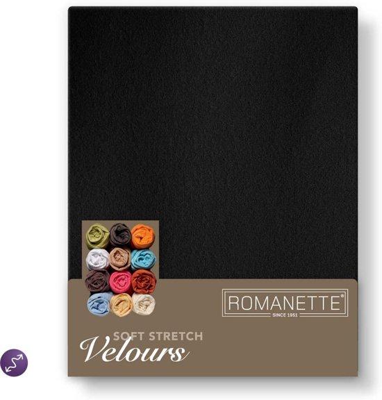 Velours hoeslaken - Zwart - Lits-jumeaux (160/180/200x200/220 cm)