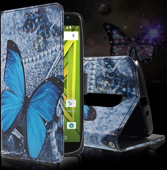 Motorola Moto X Play Hoesje Blauwe Vlinder met Opbergvakjes in Wolferen