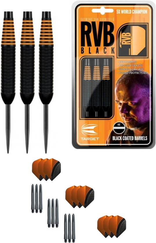 Target - Raymond van Barneveld - Black coated - 24 gram - dartpijlen + 9 dartshafts + 9 dartflights