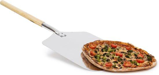 relaxdays pizzaschep vierkant metaal   hout, pizzaspatel, broodschep, pizza