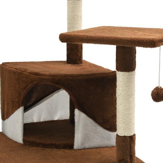 vidaXL Kattenkrabpaal met sisal krabpalen 203 cm bruin en wit