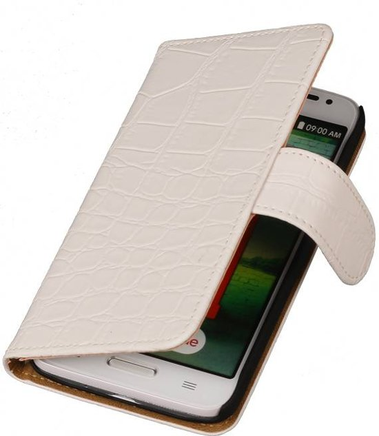 Croco Bookstyle Hoes voor LG Optimus L70 Wit