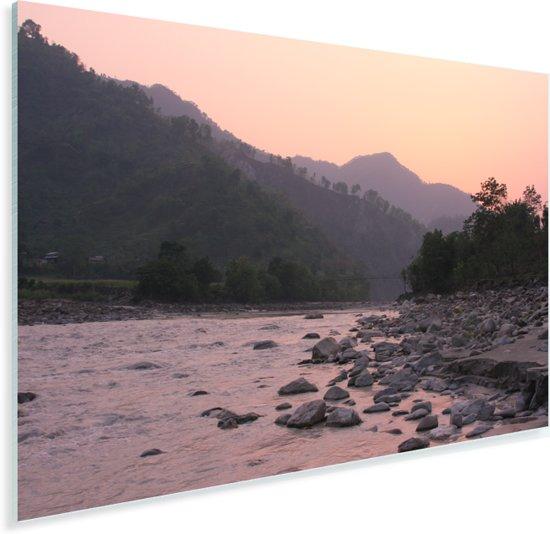 Zonsondergang bij de rivier in het Nationaal park Chitwan in Nepal Plexiglas 90x60 cm - Foto print op Glas (Plexiglas wanddecoratie)