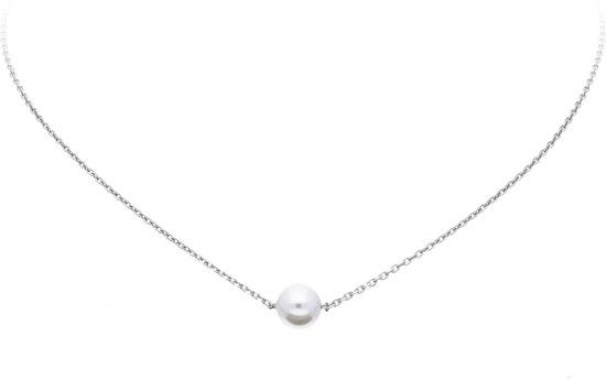 Lovenotes ketting - zilver - gerodineerd - Swarovski parel - wit - 41 + 5 cm