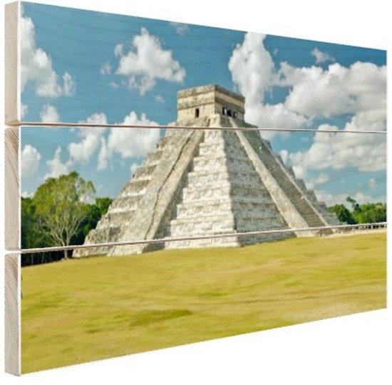 Maya Piramide van Kukulkan  Hout 120x80 cm - Foto print op Hout (Wanddecoratie)