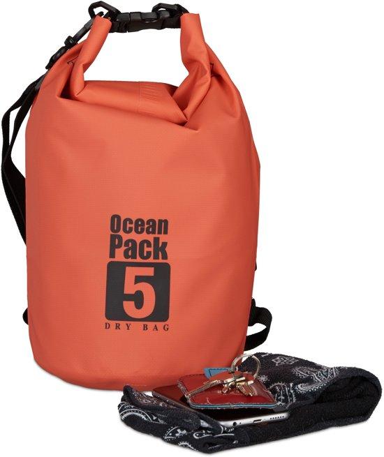 relaxdays Ocean Pack 5 liter - waterdichte tas - droogtas - outdoor plunjezak - zeilen rood