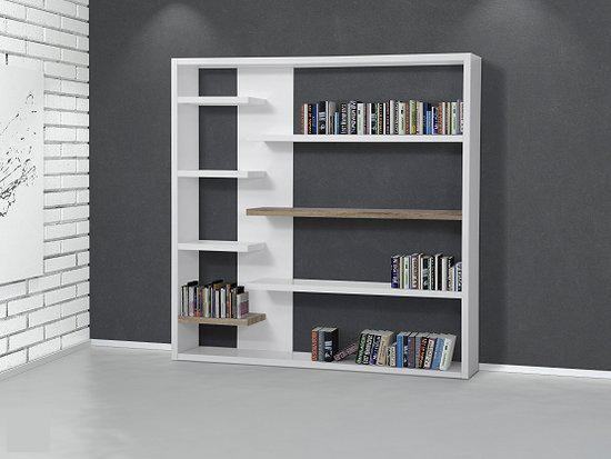beliani trenton boekenkast wit mdf