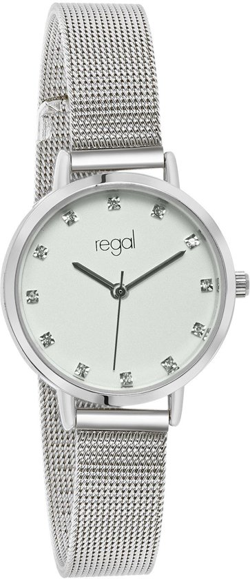 Regal - Regal mesh Sparkle dameshorloge zilverkleurig