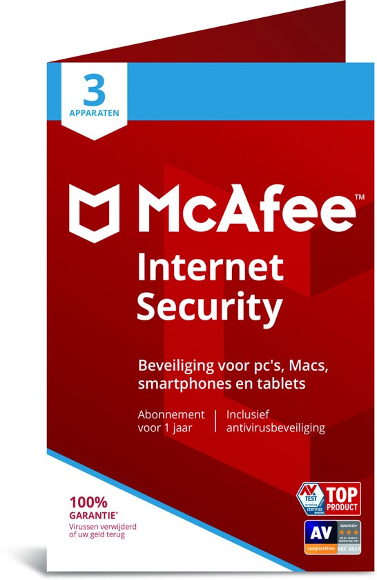McAfee Internet Security - Multi-Device - 3 Apparaten - 1 Jaar - Nederlands / Frans - Windows / Mac