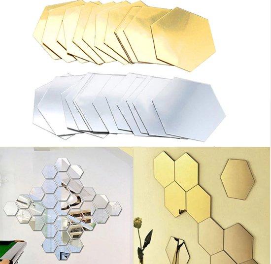 Spiegel Sticker Set - Acryl - Decoratie Pakket - Wandspiegel - Woonkamer Decoratie - Zilver - 48 stuks