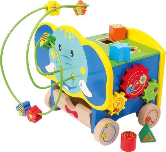 Kralenspiraal met vormenstoof - Activiteitenkubus op 4 wielen