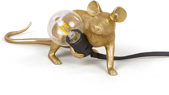 Seletti - Mouse lamp LOP-gold lying down black cable