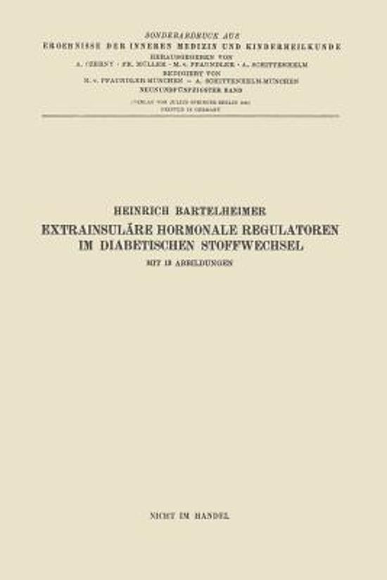 Extrainsul re Hormonale Regulatoren Im Diabetischen Stoffwechsel