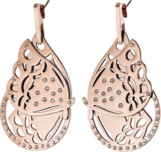 LOISIR 03L27-00262 vlinder oorbellen van roségoud