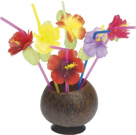 Hawaii rietjes met bloemetje 12 stuks