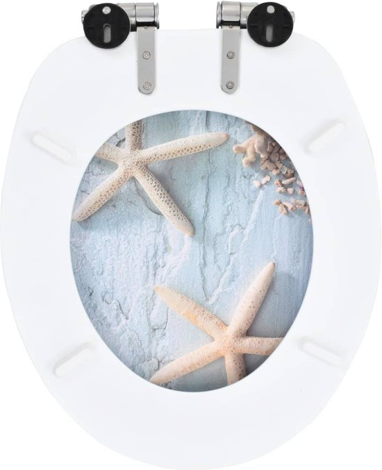 vidaXL Toiletbril met soft-close deksel MDF zeesterren print