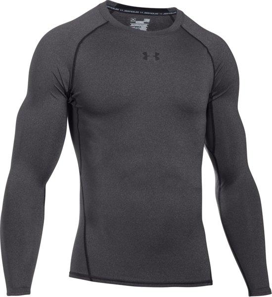 Under Armour HG Armour LS Heren Sportshirt - Carbon Heather - Maat XL