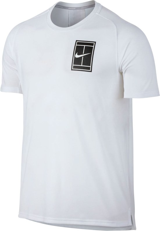 a3f014308ce Nike Court Breathe Tennis T-shirt Heren Sportshirt - Maat L - Mannen - wit