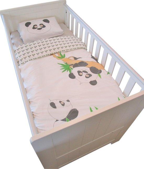 Panda - Ledikant dekbedovertrek 140 x 100 cm met kussensloop - Wit/Groen