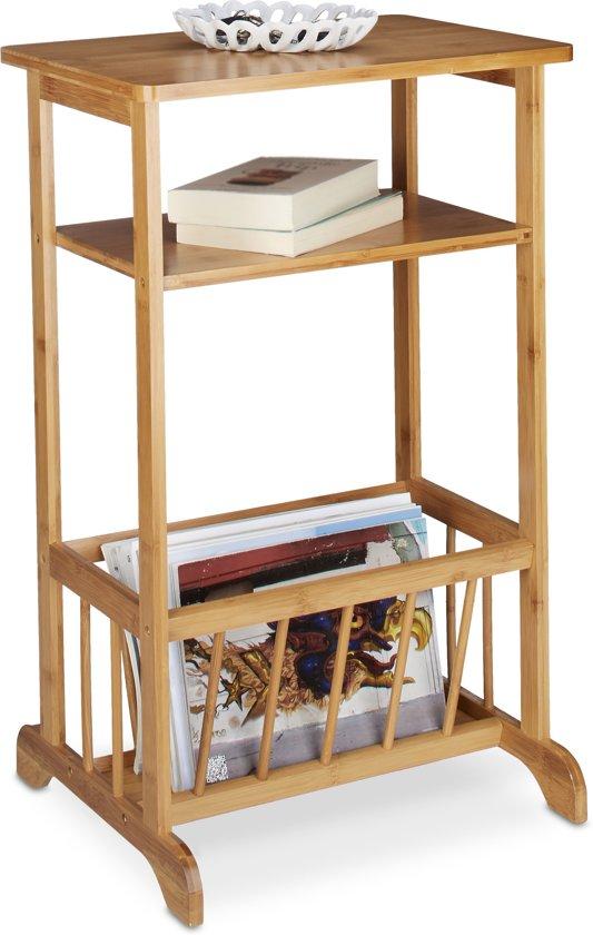Relaxdays - Bijzettafel met lectuurbak - telefoontafel - nachtkastje - krantenbak - bamboe
