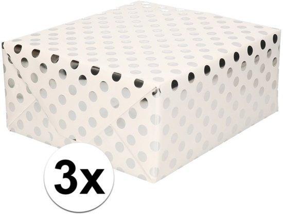3x Wit folie inpakpapier/cadeaupapier zilveren stip 200 x 70 cm - Inpakpapier/cadeaupapier/geschenkpapier - Cadeautjes inpakken
