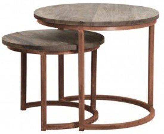 Bol.com salontafel bijzettafel set 2 hout koper bruin rond
