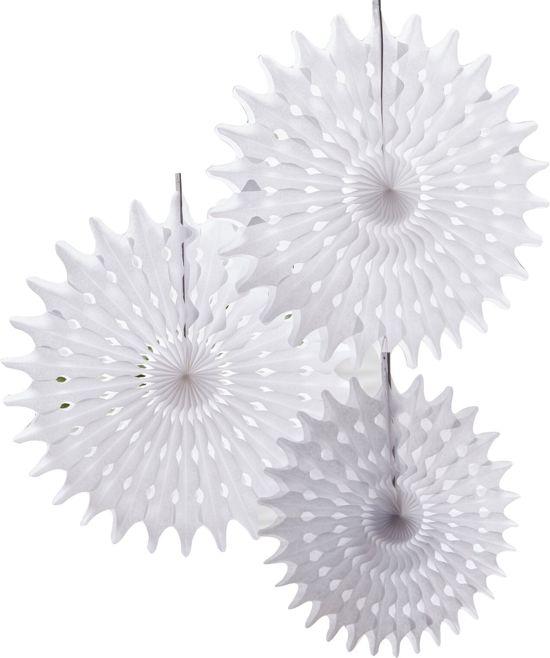 Hangende waaier decoratie - Wit Valentinaa