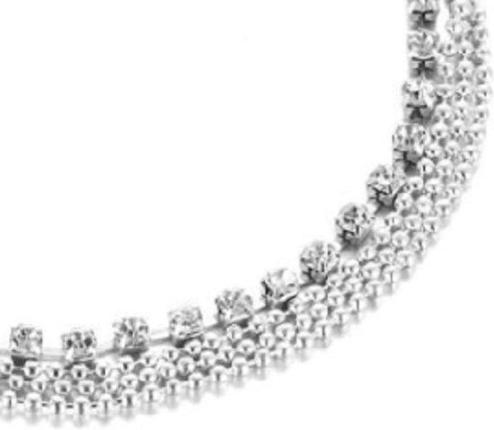 Charme Bijoux® Enkelbandje - strass - 4 rijen- zilverkleurig plated- 20/24 cm