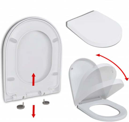 vidaXL Toiletbril soft-close quick-release design wit vierkant