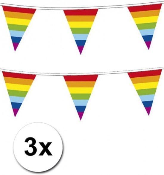 3x Regenboog vlaggenlijn