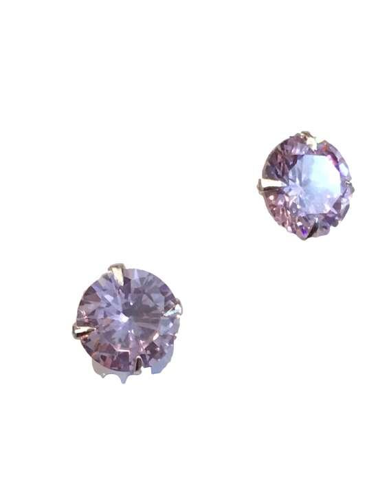 Zilveren oorbellen zirkonia roze