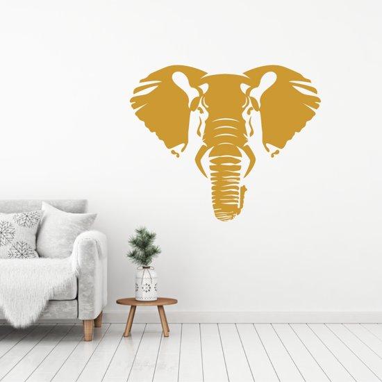 Muursticker Olifant -  Goud -  60 x 50 cm  - Muursticker4Sale