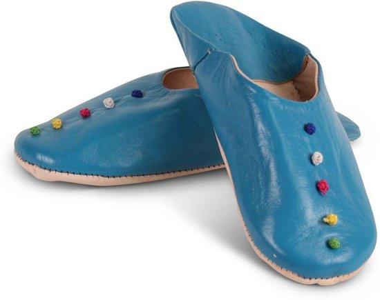Marokkaanse sloffen Pompons Blauw